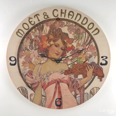 Dřevěné hodiny Mucha - Moet...